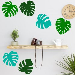 Set of 6 Tropical Leaves Palm Tree Leaf Wall Sticker