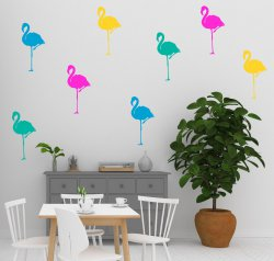 Wall Sticker Flamingo Set of 8 Removable Tropical Decals IKEA style Decor