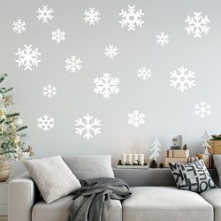 18 x Multi Size Snowflakes Christmas Wall Stickers Winter Decoration
