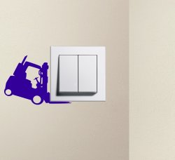 Designer - Funny Forklift Light Switch Sticker Wall Decal