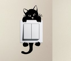 Designer - Cute Kitty Cat Baby Pet Light Switch Sticker Funny Wall Decal