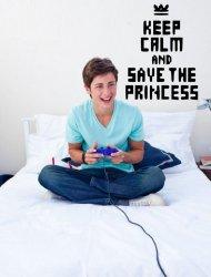 'Keep Calm and Save The Princess' - Teenager / Gamer / Kids Room Wall Decal