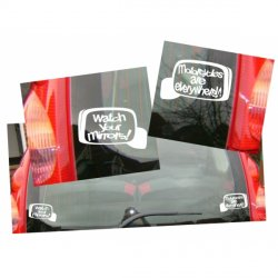 D140102 Set of 2 Mirrors - Motorcycles are everywhere and Watch your mirrors