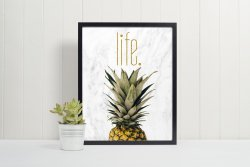 Pineapple Life Scandi Nordic Hygge Poster Marble & Gold Modern Print