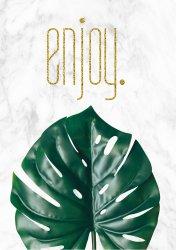 Monstera Leaf Enjoy Poster Botanical Green Tropical Leaf Art Print