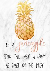 Be a Pineapple. Scandi Style Marble Background Poster Premium Simple Print