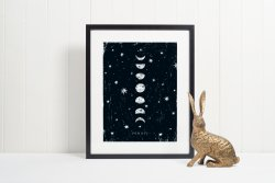 Phases Of Moon Scandinavian Nordic Print Hygge Large Poster