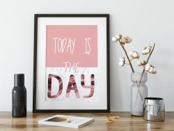 Today Is The Day Scandinavian Scandi Nordic Poster Marble & Pink Gold Hygge Prin