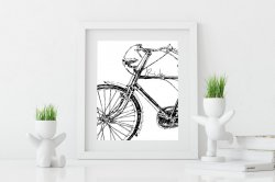 Bike Ride Black & White Scandinavian Nordic Simple Poster Design Hygge Print