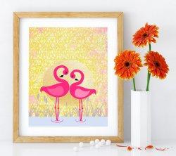 Cute Flamingos Pink & Gold Modern Premium Poster Print