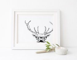 Mr Deersir Scandinavian Scandi Simple Poster Deer Design Nordic Print