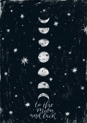 Poster 'To the moon and back' Black and White Premium Moon Print