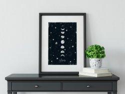Moon Poster 'Shine' Night Sky Black and White Scandi Print