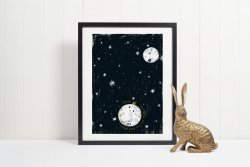 Moon & Planets Poster 'Love you to the moon and back' Night Sky Premium Print