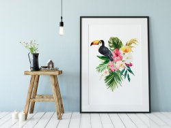 Tropical Poster Toucan Monstera Leaf Leaves Hibiscus Print Amazing Gift