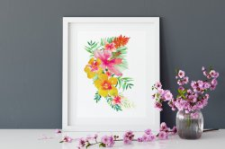 Tropical Flowers and Leaves Poster Summer Vibe Watercolour Botanic Print