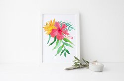 Exotic Watercolour Poster Hibiscus Flower & Tropical Leaves Modern Print