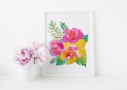 Exotic Poster Pink & Yellow Flowers Tropical Leaves Print Great Gift Idea