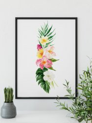 Tropical Watercolour Flowers & Leaves Poster Modern Exotic Hibiscus Floral Print