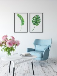 Monstera Deliciosa & Banana Leaf Set of 2 Tropical Posters Prints