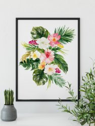 Tropical Garden Poster Watercolour Flowers & Leaves Exotic Print