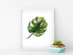 Monstera Deliciosa Leaf Poster Simple Tropical Minimalist Modern Print