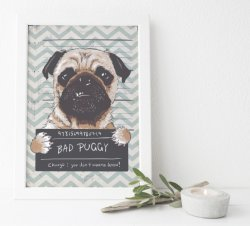 Bad Puggy - Funny Dog Comic Poster
