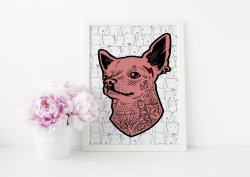 Tattooed Chihuahua - Funny Dog Creative Design Poster