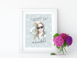 'Oops I'm #beautiful' Girly Sweet Pastel Floral Poster