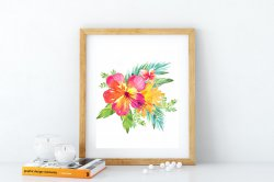 Exotic Flowers Summer Vibe Poster Hibiscus Tropical Leaves Print