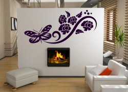 utterfly And Flowers Art Wall Decoration