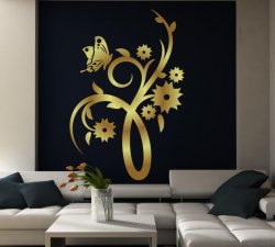 Butterfly And Flowers Wall Decor Normal