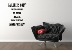 JC Design 'Failure is only the opportunity to begin again...' Motivational Vinyl