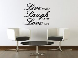 JC Design 'Live simple, Laugh often, Love life' - Large Wall Decal