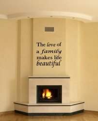 JC Design 'The love of a family makes life beautiful.' - Large Vinyl Sticker