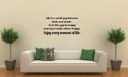 JC Design 'Life is a small gap between birth and death...' Motivational Wall Quo