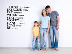 JC Design 'Think positively, exercise daily, eat healthy...' Motivational Wall S