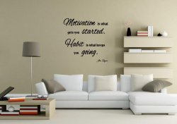 JC Design 'Motivation is what gets you started...' Motivational Wall Quote Stick