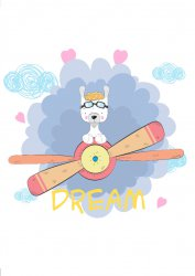 Plane Lama DREAM! Scandi Poster for Kids Room