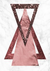 Rose Gold Triangles with Marble Stunning Poster