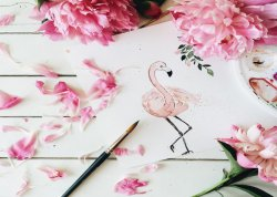 Lush Flamingo with Flowers Painting Scene Poster Nordic Style Stylish Print