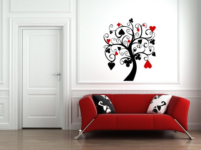 Poker Tree Amazing Black and Red Wall Art & Poker Tree Amazing Black and Red Wall Art | Wall Stickers Store - UK ...