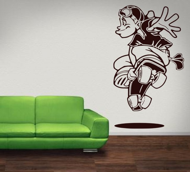 Crazy Skater Kids Teenager Room Wall Sticker Wall