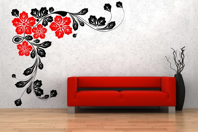 Wonderful Corner Flowers Giant Wall Sticker Part 33