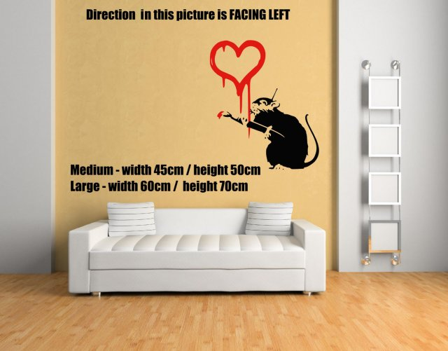 Banksy Style Rat Painting Red Heart Wall Sticker | Wall Stickers ...