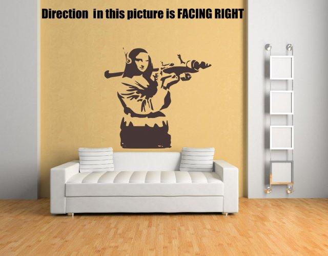 Banksy Graffiti \'Mona Lisa Bazooka\' Art Vinyl Wall Stickers Decal ...