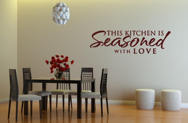 39 this kitchen is seasoned with love 39 kitchen dining room for Dining room quote decals