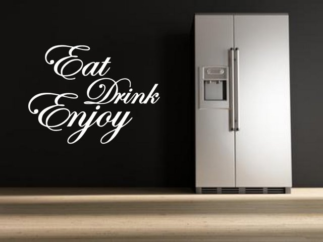 39 eat drink enjoy 39 quote stickers kitchen dining room for Dining room wall quote decals