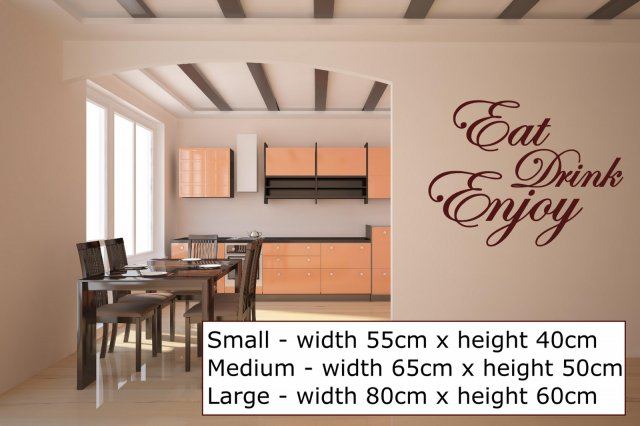39 eat drink enjoy 39 quote stickers kitchen dining room for Dining room quote decals