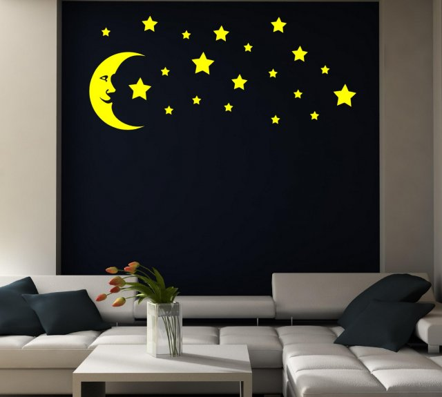 Moon And Stars - Kid's Room / Nursery / Bedroom Wall Stickers